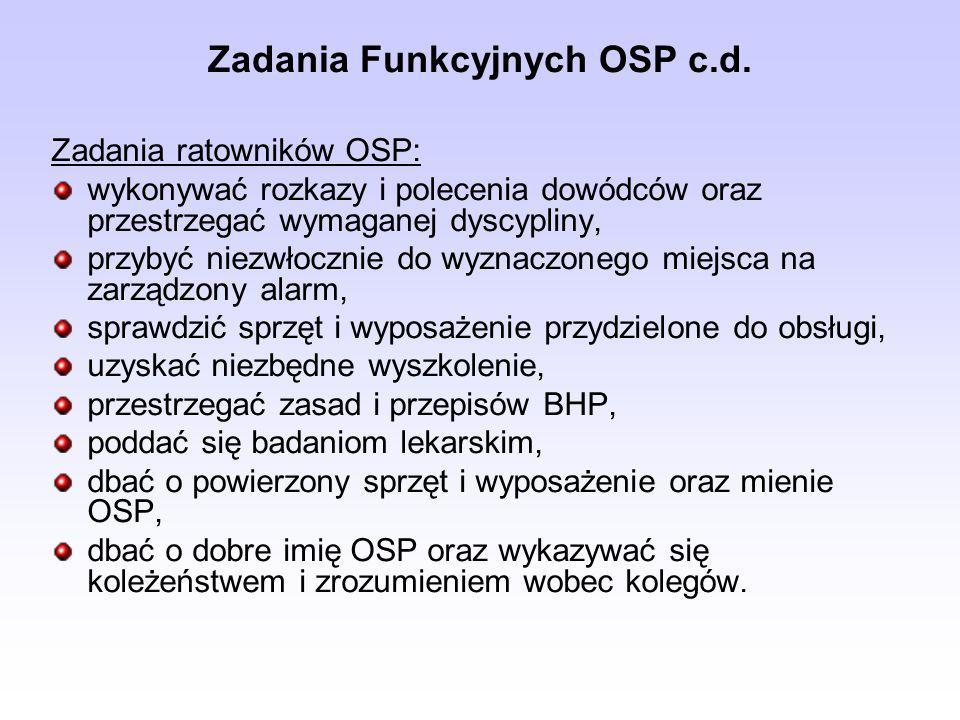 Zadania Funkcyjnych OSP c.d. Zadania ratowników OSP: wykonywać rozkazy i polecenia dowódców oraz przestrzegać wymaganej dyscypliny, przybyć niezwłoczn