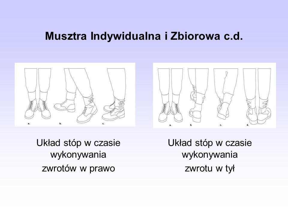 Musztra Indywidualna i Zbiorowa c.d. Układ stóp w czasie wykonywania zwrotów w prawo Układ stóp w czasie wykonywania zwrotu w tył