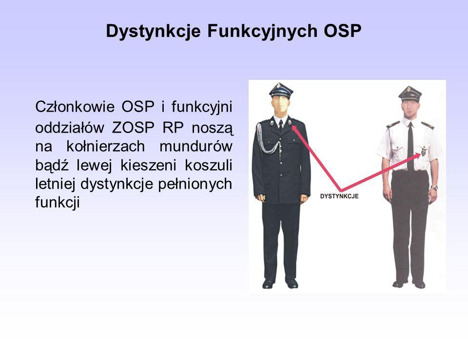 Dystynkcje Funkcyjnych OSP Członkowie OSP i funkcyjni oddziałów ZOSP RP noszą na kołnierzach mundurów bądź lewej kieszeni koszuli letniej dystynkcje p