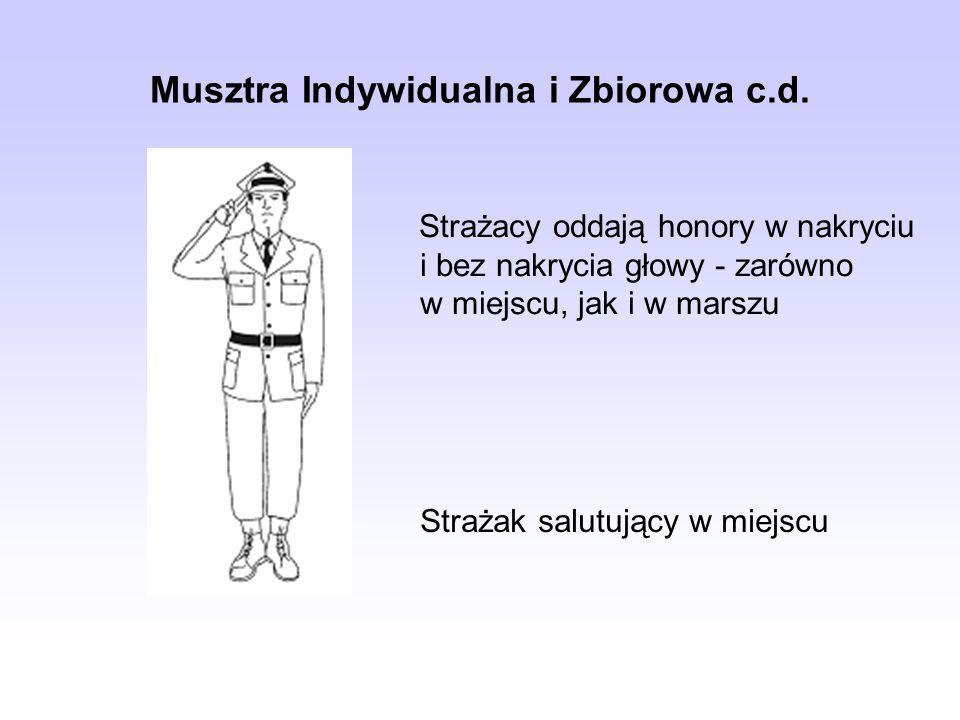 Musztra Indywidualna i Zbiorowa c.d. Strażacy oddają honory w nakryciu i bez nakrycia głowy - zarówno w miejscu, jak i w marszu Strażak salutujący w m