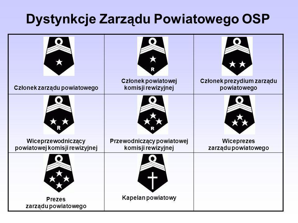 Dystynkcje Zarządu Powiatowego OSP Członek zarządu powiatowego Członek powiatowej komisji rewizyjnej Członek prezydium zarządu powiatowego Wiceprzewod