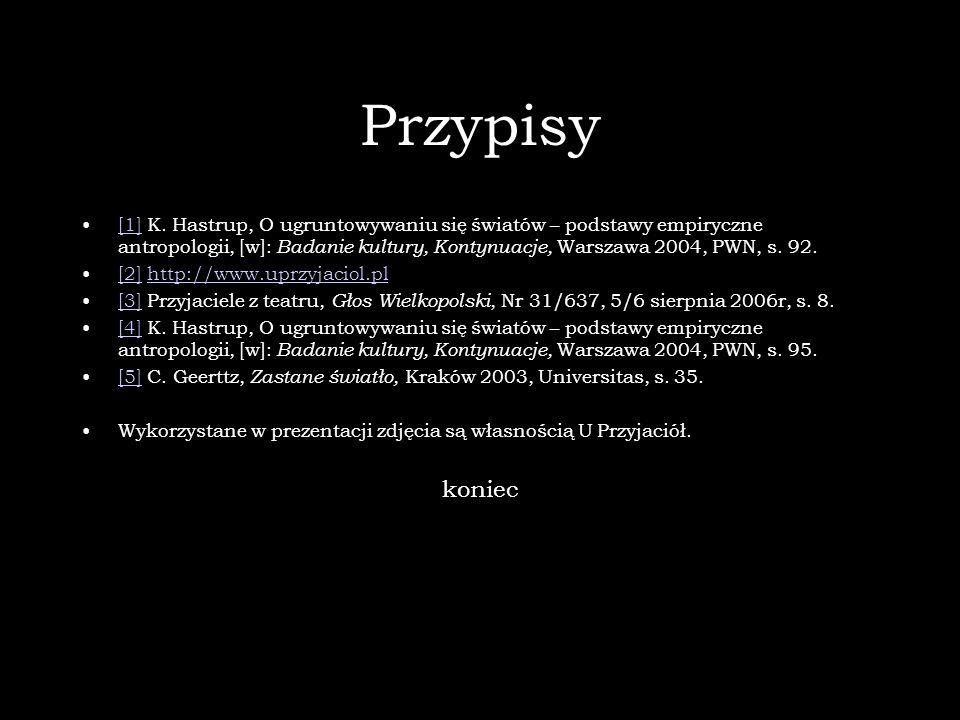 Przypisy [1] K. Hastrup, O ugruntowywaniu się światów – podstawy empiryczne antropologii, [w]: Badanie kultury, Kontynuacje, Warszawa 2004, PWN, s. 92