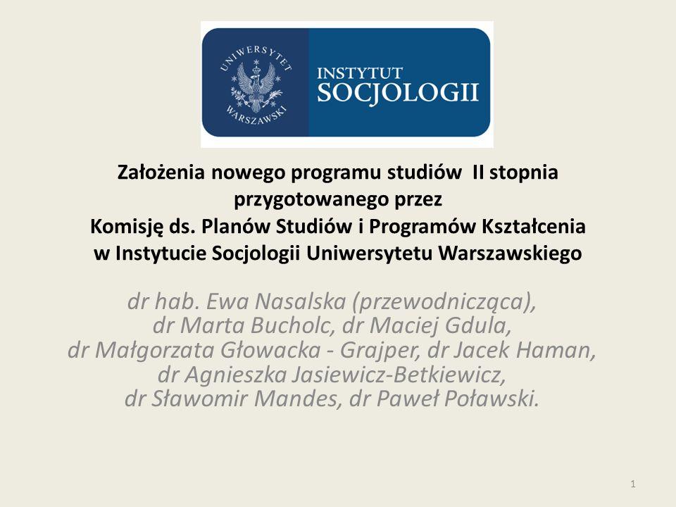 Założenia nowego programu studiów II stopnia przygotowanego przez Komisję ds.