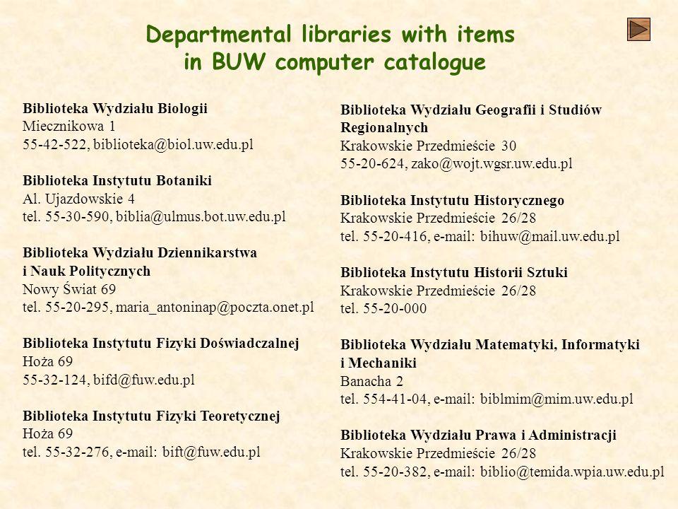 Departmental libraries with items in BUW computer catalogue Biblioteka Wydziału Biologii Miecznikowa 1 55-42-522, biblioteka@biol.uw.edu.pl Biblioteka Instytutu Botaniki Al.