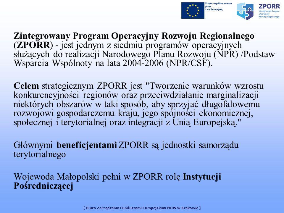 [ Biuro Zarządzania Funduszami Europejskimi MUW w Krakowie ] Zintegrowany Program Operacyjny Rozwoju Regionalnego (ZPORR) - jest jednym z siedmiu programów operacyjnych służących do realizacji Narodowego Planu Rozwoju (NPR) /Podstaw Wsparcia Wspólnoty na lata 2004-2006 (NPR/CSF).
