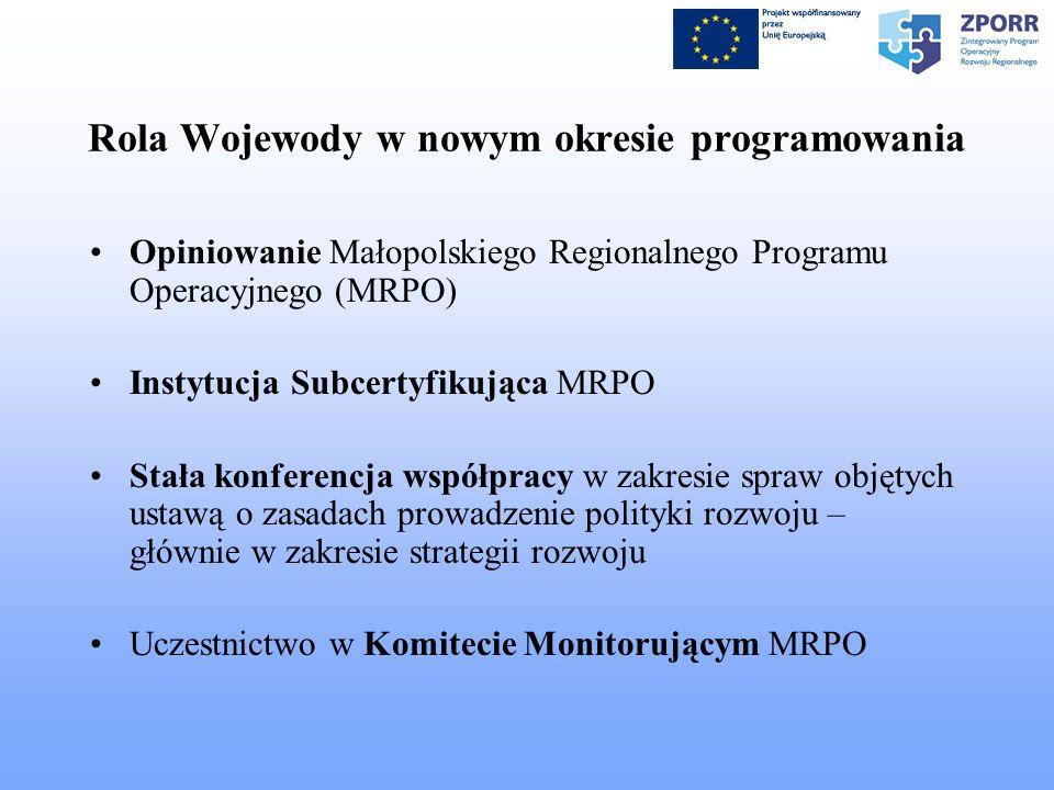 Rola Wojewody w nowym okresie programowania Opiniowanie Małopolskiego Regionalnego Programu Operacyjnego (MRPO) Instytucja Subcertyfikująca MRPO Stała konferencja współpracy w zakresie spraw objętych ustawą o zasadach prowadzenie polityki rozwoju – głównie w zakresie strategii rozwoju Uczestnictwo w Komitecie Monitorującym MRPO