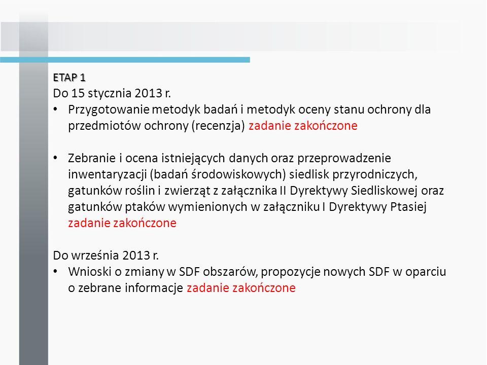ETAP 1 Do 15 stycznia 2013 r.