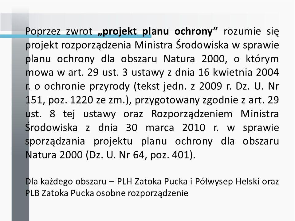 Poprzez zwrot projekt planu ochrony rozumie się projekt rozporządzenia Ministra Środowiska w sprawie planu ochrony dla obszaru Natura 2000, o którym mowa w art.