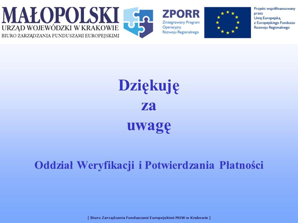 Dziękuję za uwagę Oddział Weryfikacji i Potwierdzania Płatności [ Biuro Zarządzania Funduszami Europejskimi MUW w Krakowie ]