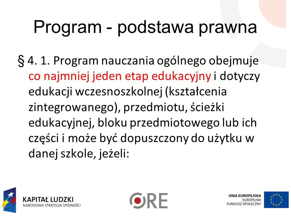 Program - podstawa prawna § 4. 1. Program nauczania ogólnego obejmuje co najmniej jeden etap edukacyjny i dotyczy edukacji wczesnoszkolnej (kształceni