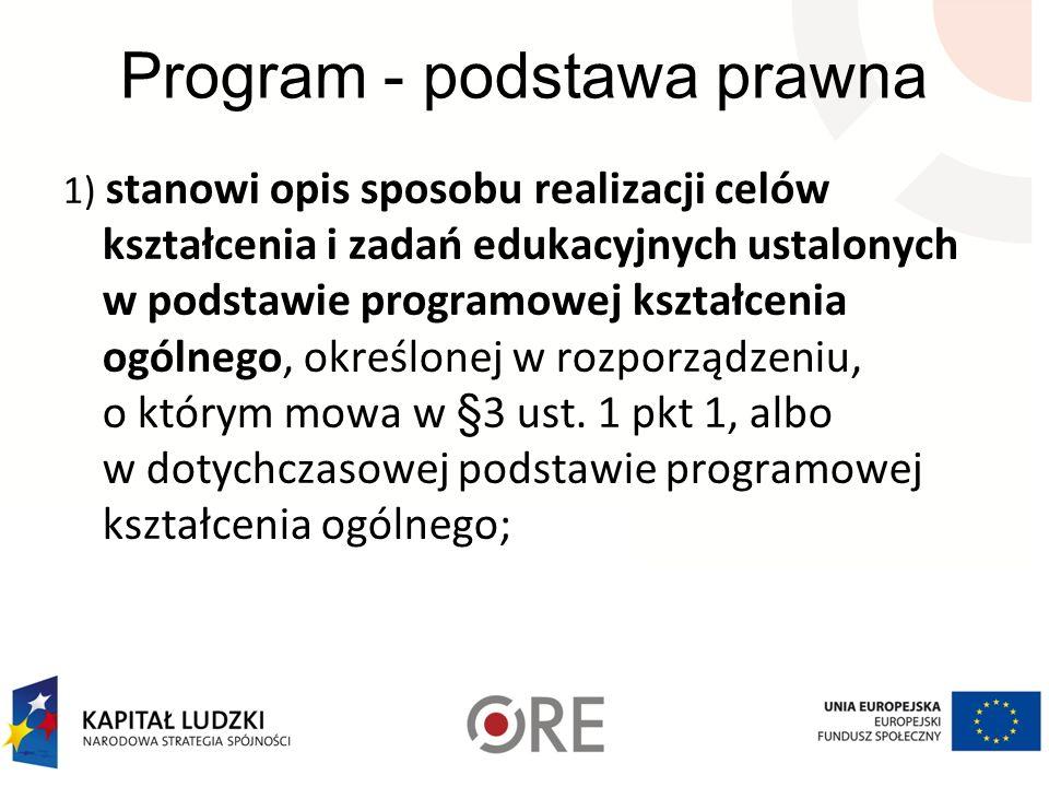 Program - podstawa prawna 1) stanowi opis sposobu realizacji celów kształcenia i zadań edukacyjnych ustalonych w podstawie programowej kształcenia ogó