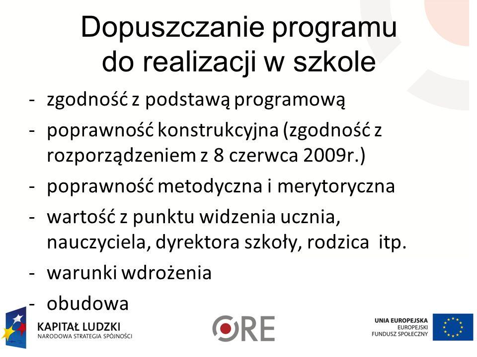 Dopuszczanie programu do realizacji w szkole -zgodność z podstawą programową -poprawność konstrukcyjna (zgodność z rozporządzeniem z 8 czerwca 2009r.)