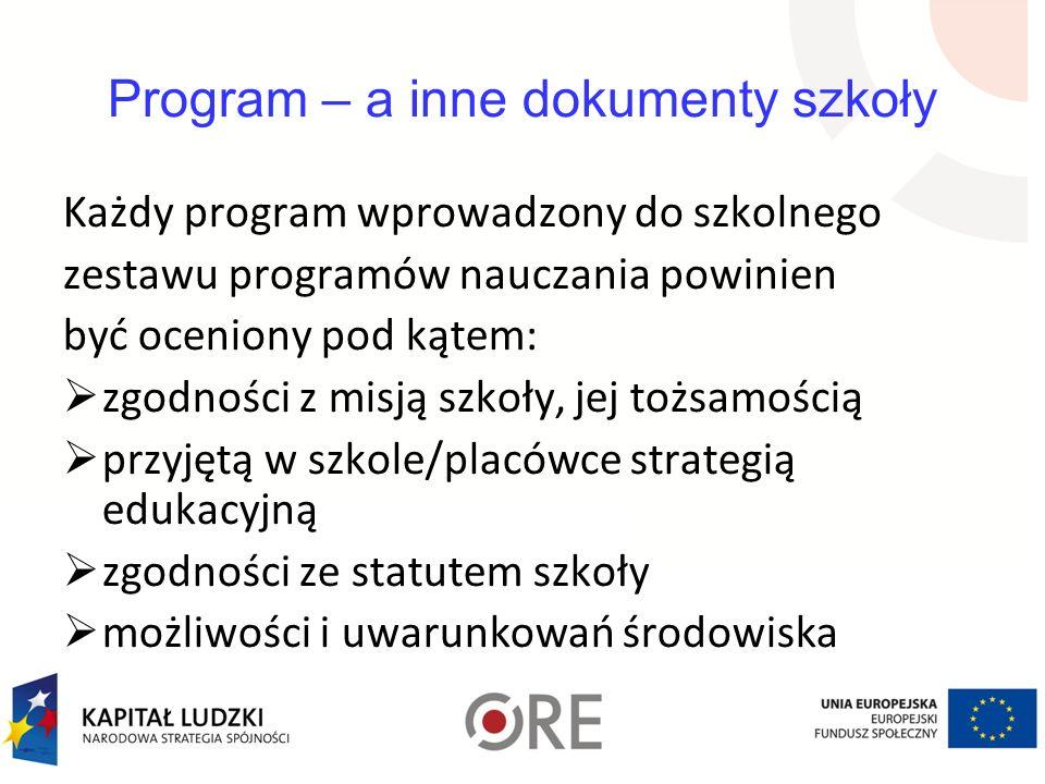 Program – a inne dokumenty szkoły Każdy program wprowadzony do szkolnego zestawu programów nauczania powinien być oceniony pod kątem: zgodności z misj