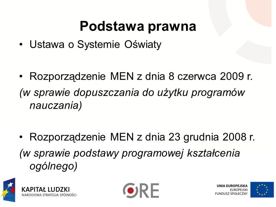 Podstawa prawna Ustawa o Systemie Oświaty Rozporządzenie MEN z dnia 8 czerwca 2009 r. (w sprawie dopuszczania do użytku programów nauczania) Rozporząd