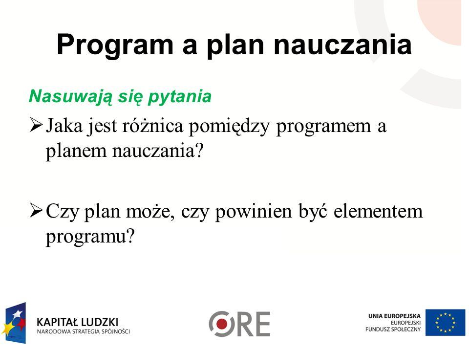Program a plan nauczania Nasuwają się pytania Jaka jest różnica pomiędzy programem a planem nauczania? Czy plan może, czy powinien być elementem progr