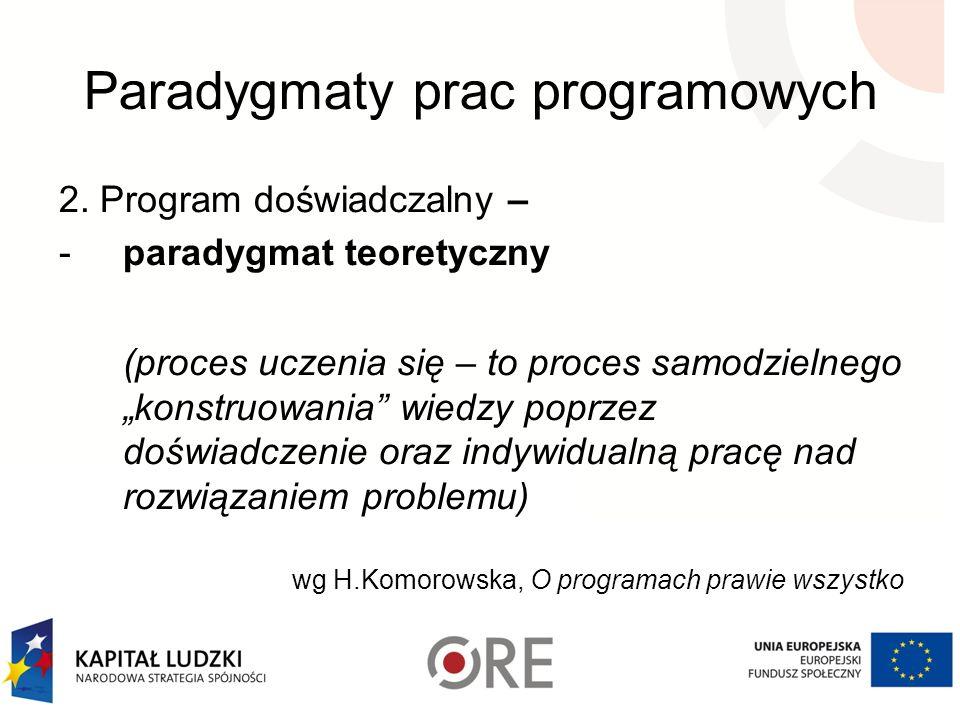 Paradygmaty prac programowych 2. Program doświadczalny – -paradygmat teoretyczny (proces uczenia się – to proces samodzielnego konstruowania wiedzy po