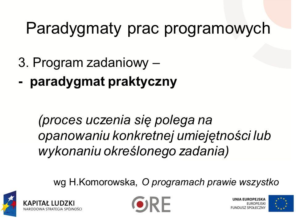 Paradygmaty prac programowych 3. Program zadaniowy – - paradygmat praktyczny (proces uczenia się polega na opanowaniu konkretnej umiejętności lub wyko