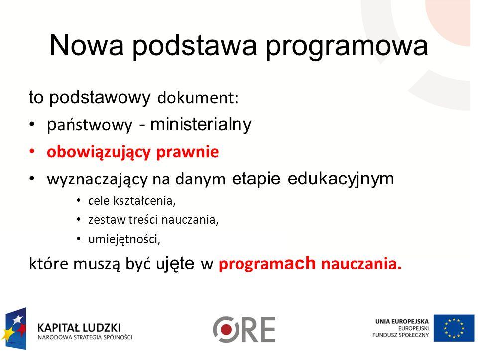 Nowa podstawa programowa to podstawowy dokument: p aństwowy - ministerialny obowiązujący prawnie wyznaczający na danym etapie edukacyjnym cele kształc