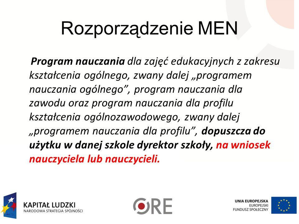 Rozporządzenie MEN Program nauczania dla zajęć edukacyjnych z zakresu kształcenia ogólnego, zwany dalej programem nauczania ogólnego, program nauczani