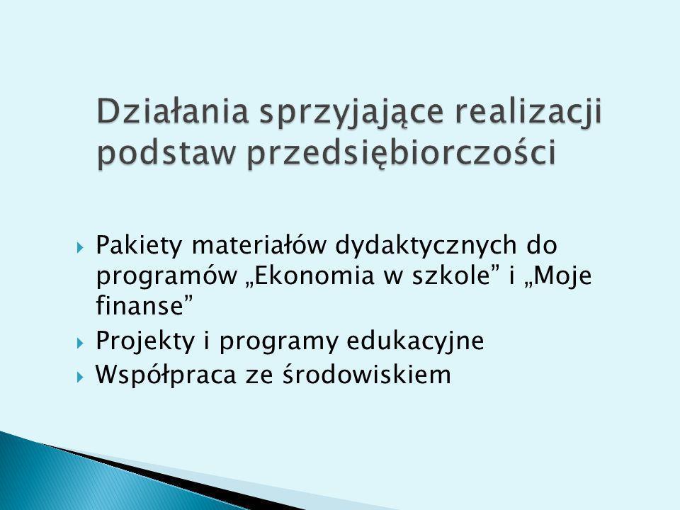 Pakiety materiałów dydaktycznych do programów Ekonomia w szkole i Moje finanse Projekty i programy edukacyjne Współpraca ze środowiskiem