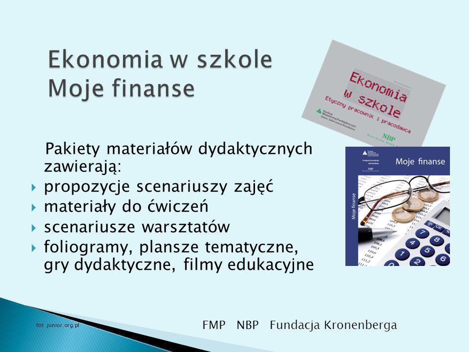 Pakiety materiałów dydaktycznych zawierają: propozycje scenariuszy zajęć materiały do ćwiczeń scenariusze warsztatów foliogramy, plansze tematyczne, gry dydaktyczne, filmy edukacyjne FMP NBP Fundacja Kronenberga fot.