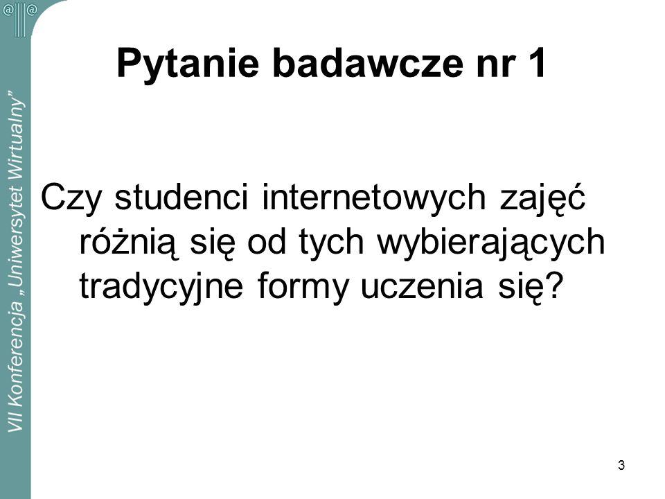 3 Pytanie badawcze nr 1 Czy studenci internetowych zajęć różnią się od tych wybierających tradycyjne formy uczenia się?