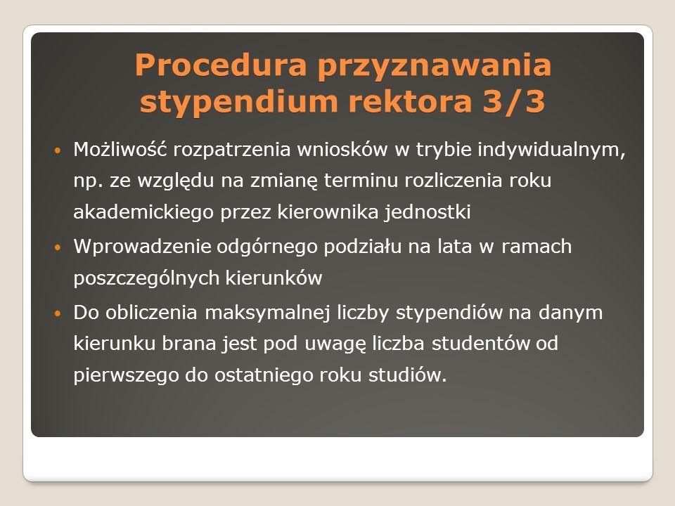 Procedura przyznawania stypendium rektora 3/3 Możliwość rozpatrzenia wniosków w trybie indywidualnym, np.