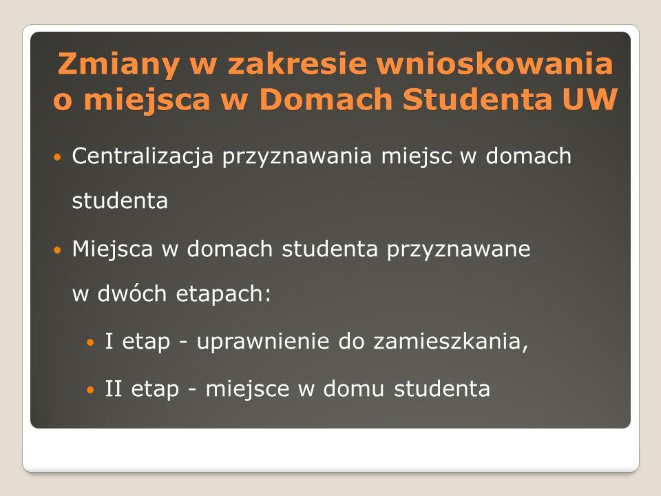 Centralizacja przyznawania miejsc w domach studenta Miejsca w domach studenta przyznawane w dwóch etapach: I etap - uprawnienie do zamieszkania, II etap - miejsce w domu studenta