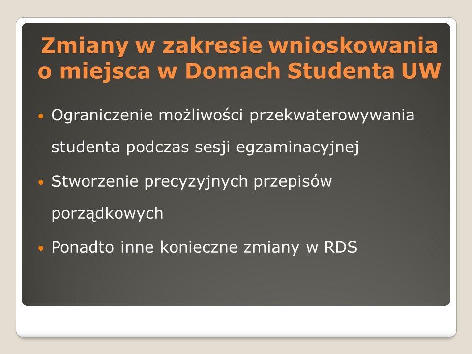 Zmiany w zakresie wnioskowania o miejsca w Domach Studenta UW Ograniczenie możliwości przekwaterowywania studenta podczas sesji egzaminacyjnej Stworzenie precyzyjnych przepisów porządkowych Ponadto inne konieczne zmiany w RDS