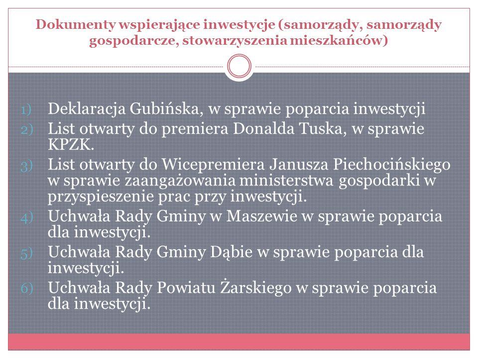 Dokumenty wspierające inwestycje (samorządy, samorządy gospodarcze, stowarzyszenia mieszkańców) 1) Deklaracja Gubińska, w sprawie poparcia inwestycji