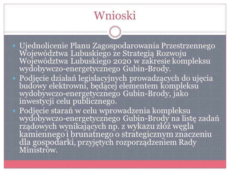 Wnioski Ujednolicenie Planu Zagospodarowania Przestrzennego Województwa Lubuskiego ze Strategią Rozwoju Województwa Lubuskiego 2020 w zakresie komplek