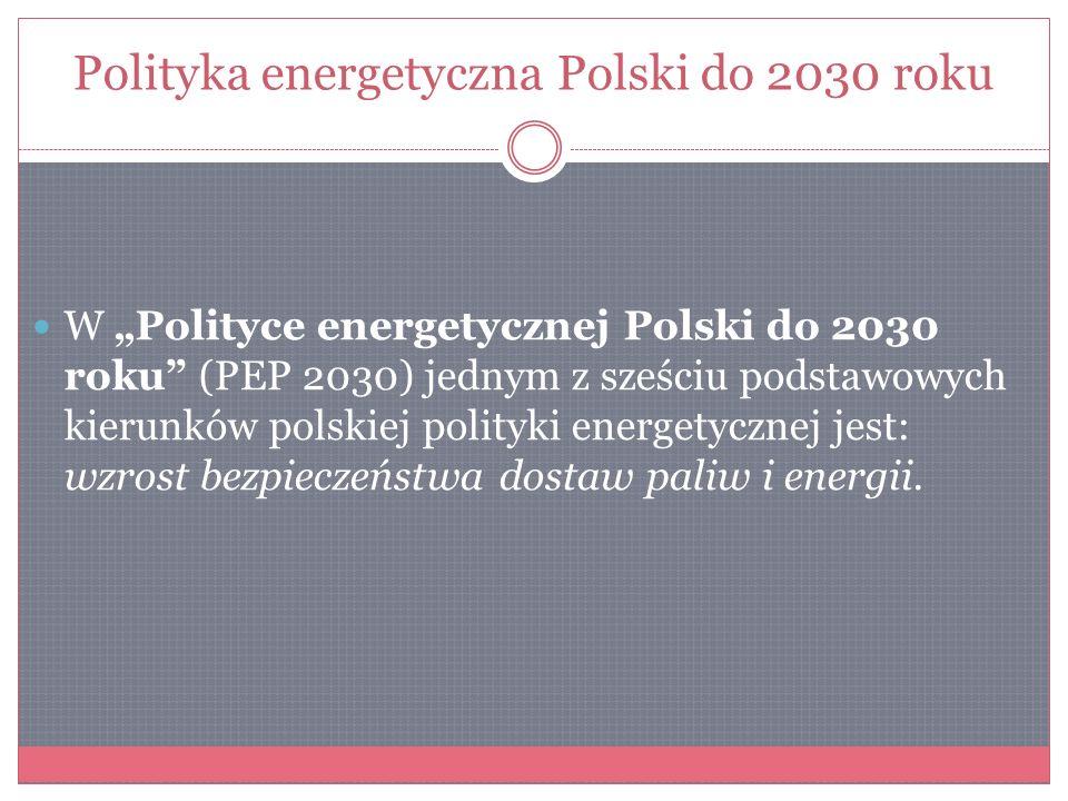 Polityka energetyczna Polski do 2030 roku W Polityce energetycznej Polski do 2030 roku (PEP 2030) jednym z sześciu podstawowych kierunków polskiej pol