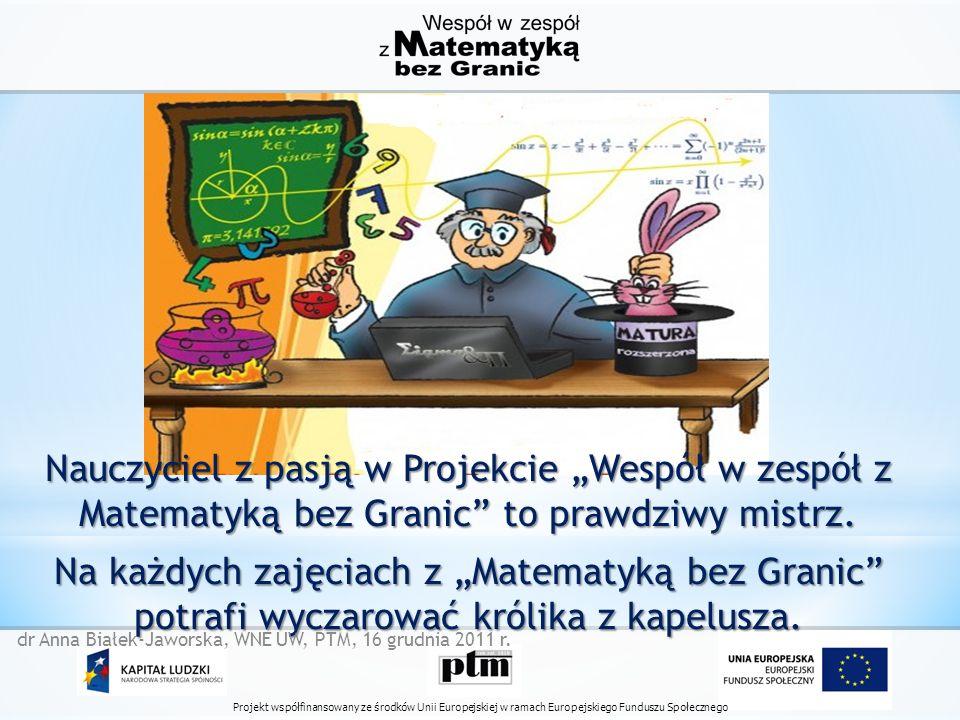Projekt współfinansowany ze środków Unii Europejskiej w ramach Europejskiego Funduszu Społecznego Nauczyciel z pasją w Projekcie Wespół w zespół z Matematyką bez Granic to prawdziwy mistrz.