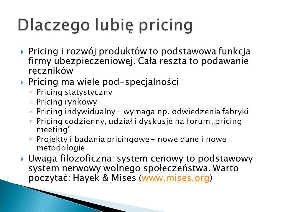 Pricing i rozwój produktów to podstawowa funkcja firmy ubezpieczeniowej. Cała reszta to podawanie ręczników Pricing ma wiele pod-specjalności Pricing