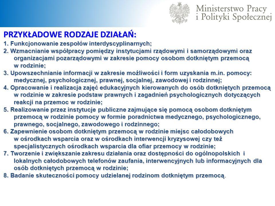 PRZYKŁADOWE RODZAJE DZIAŁAŃ: 1. Funkcjonowanie zespołów interdyscyplinarnych; 2. Wzmacnianie współpracy pomiędzy instytucjami rządowymi i samorządowym