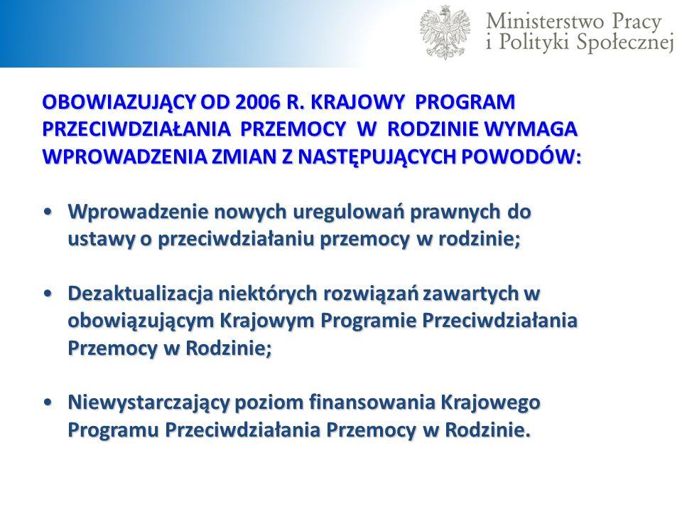 OBOWIAZUJĄCY OD 2006 R. KRAJOWY PROGRAM PRZECIWDZIAŁANIA PRZEMOCY W RODZINIE WYMAGA WPROWADZENIA ZMIAN Z NASTĘPUJĄCYCH POWODÓW: Wprowadzenie nowych ur