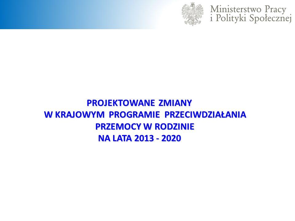 PROJEKTOWANE ZMIANY W KRAJOWYM PROGRAMIE PRZECIWDZIAŁANIA PRZEMOCY W RODZINIE NA LATA 2013 - 2020