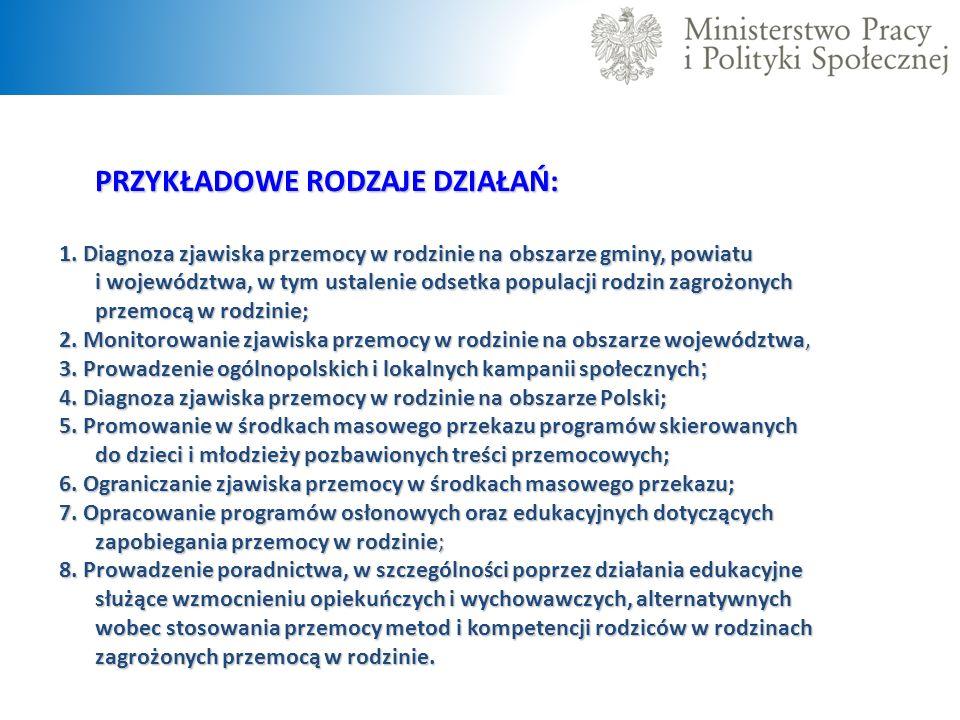 PRZYKŁADOWE RODZAJE DZIAŁAŃ: 1. Diagnoza zjawiska przemocy w rodzinie na obszarze gminy, powiatu i województwa, w tym ustalenie odsetka populacji rodz