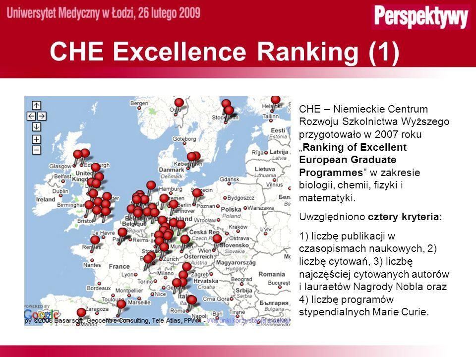 CHE Excellence Ranking (1) CHE – Niemieckie Centrum Rozwoju Szkolnictwa Wyższego przygotowało w 2007 rokuRanking of Excellent European Graduate Programmes w zakresie biologii, chemii, fizyki i matematyki.