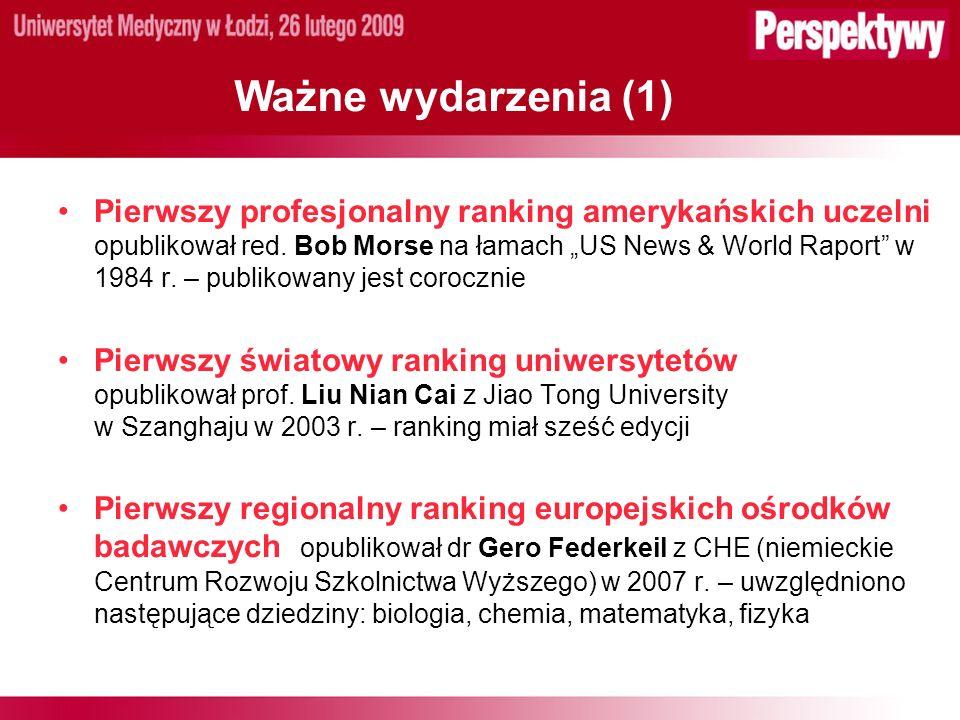 Ważne wydarzenia (1) Pierwszy profesjonalny ranking amerykańskich uczelni opublikował red.