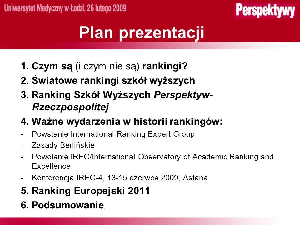 Plan prezentacji 1. Czym są (i czym nie są) rankingi.