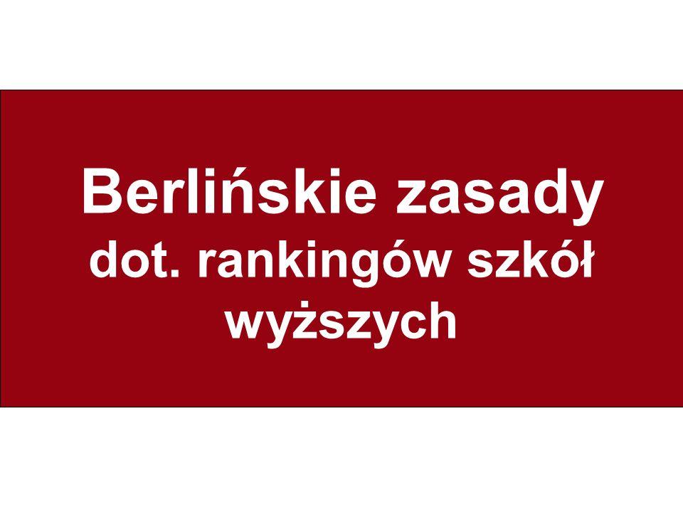 Berlińskie zasady dot. rankingów szkół wyższych