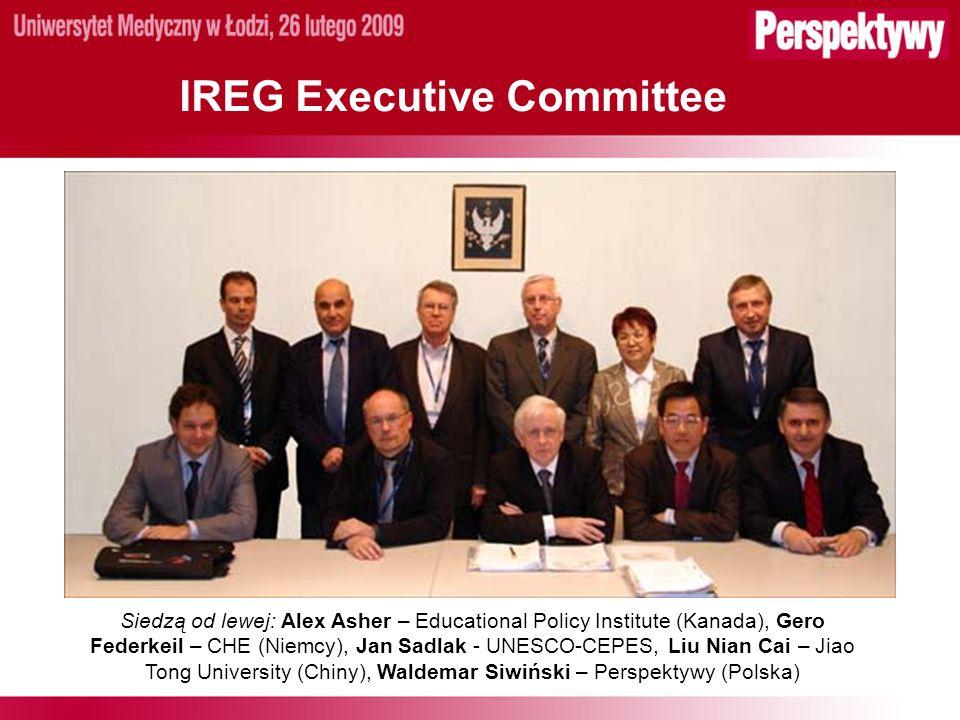 IREG Executive Committee Siedzą od lewej: Alex Asher – Educational Policy Institute (Kanada), Gero Federkeil – CHE (Niemcy), Jan Sadlak - UNESCO-CEPES, Liu Nian Cai – Jiao Tong University (Chiny), Waldemar Siwiński – Perspektywy (Polska)