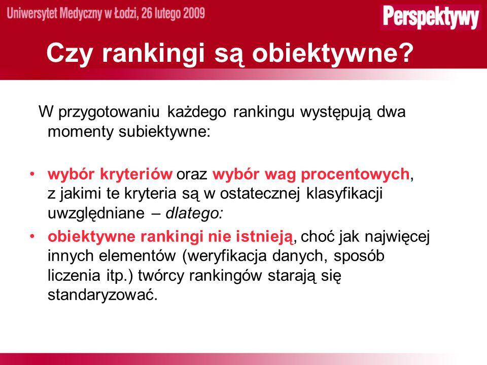 Rankingi światowe Ranking szanghajski (Academic Ranking of World Universities ARWU) – prof.