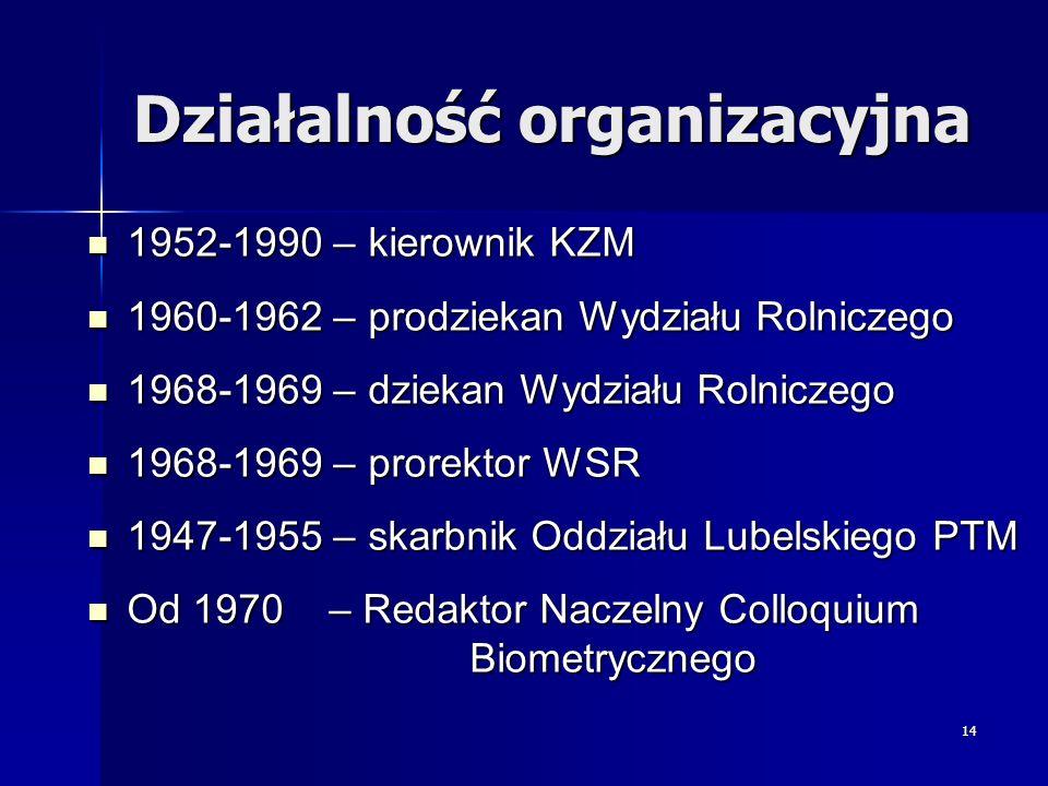 14 Działalność organizacyjna 1952-1990 – kierownik KZM 1952-1990 – kierownik KZM 1960-1962 – prodziekan Wydziału Rolniczego 1960-1962 – prodziekan Wyd