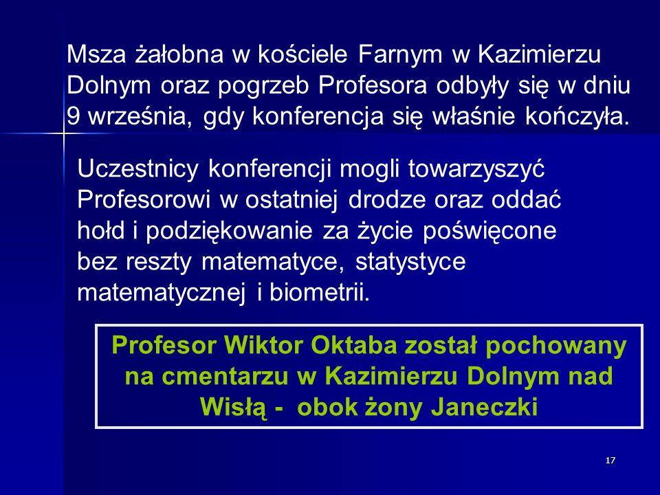 17 Msza żałobna w kościele Farnym w Kazimierzu Dolnym oraz pogrzeb Profesora odbyły się w dniu 9 września, gdy konferencja się właśnie kończyła. Uczes