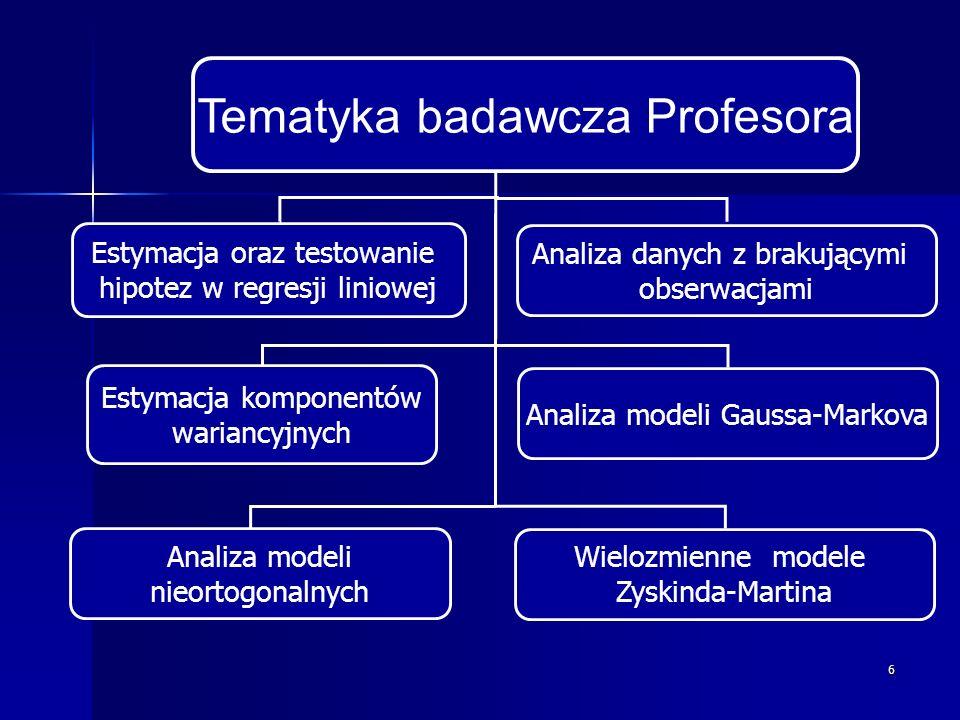 6 Tematyka badawcza Profesora Analiza modeli nieortogonalnych Estymacja komponentów wariancyjnych Analiza danych z brakującymi obserwacjami Analiza mo