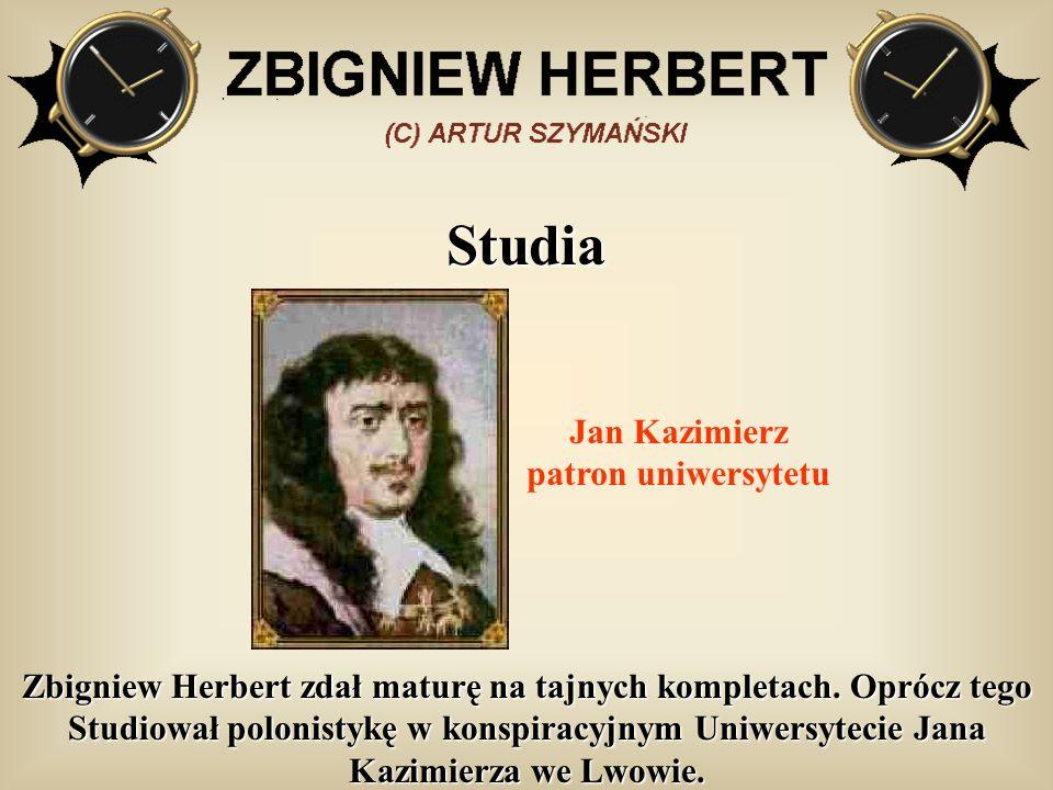 Studia Zbigniew Herbert zdał maturę na tajnych kompletach. Oprócz tego Studiował polonistykę w konspiracyjnym Uniwersytecie Jana Kazimierza we Lwowie.