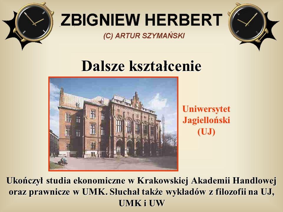 Dalsze kształcenie Ukończył studia ekonomiczne w Krakowskiej Akademii Handlowej oraz prawnicze w UMK. Słuchał także wykładów z filozofii na UJ, UMK i