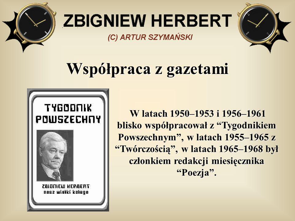 Współpraca z gazetami W latach 1950–1953 i 1956–1961 blisko współpracował z Tygodnikiem Powszechnym, w latach 1955–1965 z Twórczością, w latach 1965–1968 był członkiem redakcji miesięcznika Poezja.